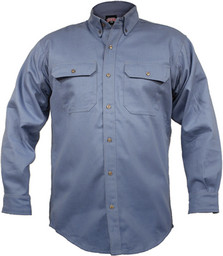563.45 FR Heavyweight Button-Up Blue Chambray Shirt, Long Sleeve
