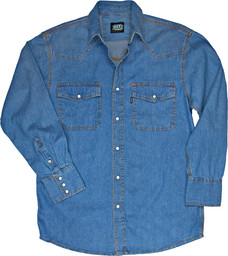 541.45 Denim Western Shirt, Long Sleeve, Enzyme Washed