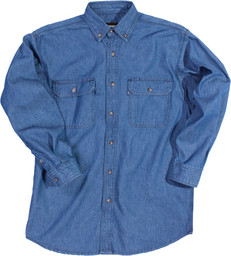 542.45 Premium Washed Denim Shirt, Long Sleeve