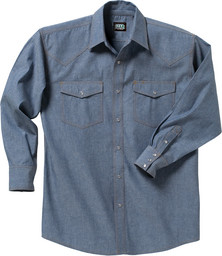 5017.45 Blue Chambray Western Shirt, Long Sleeve