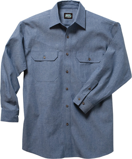 517.45 Blue Chambray Work Shirt, Long Sleeve