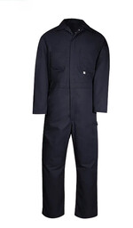 410NAY Industrial Work Coverall, Cotton/Poly Blend