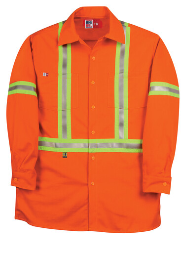 235US7ORA Industrial Work Shirt with Reflective Material