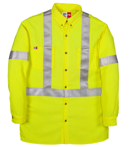 148BDTY7YEL High Visibility Button-Down Dress Shirt with Reflective Material