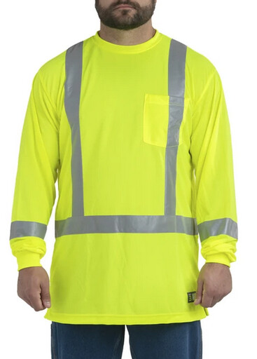 HVK013YW Hi-Vis Class 3 Performance Long Sleeve Shirt