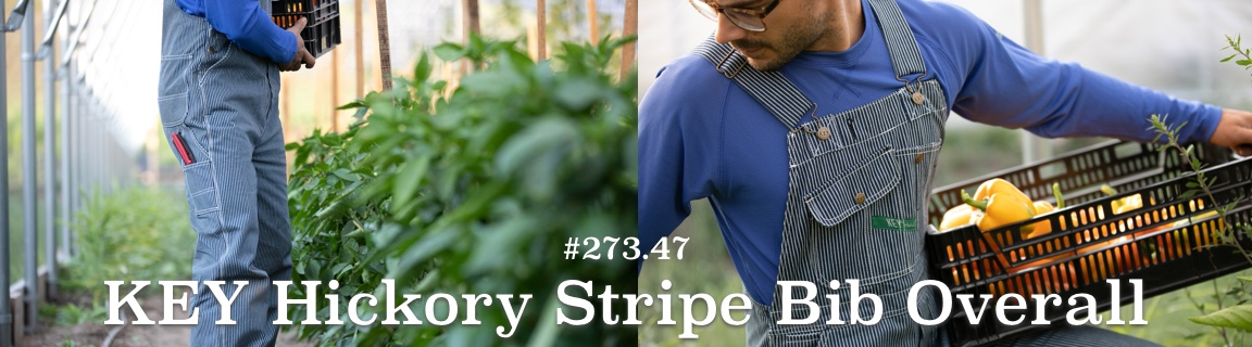 KEY Hickory Stripe Bib Sale - Durable, Reinforced Pockets, and True Diamond Back Construction